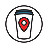 Coffe point sign-01. Illustration of a Coffee Cup with Map Pointer sign. Logo template ready for your design. Vector illustration Royalty Free Stock Photo