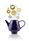 Coffe pot with social and media icons Stock Photography