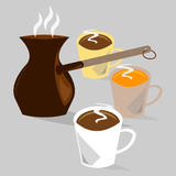 Coffe pot with three cups of coffee. Flat illustration Stock Images