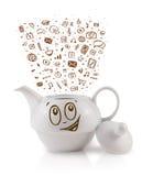 Coffe può con le icone disegnate a mano di media Fotografia Stock Libera da Diritti