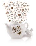 Coffe può con le icone disegnate a mano di media Immagine Stock