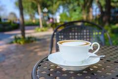 Coffe quente em um copo branco com vista exterior Fotos de Stock Royalty Free