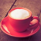 Coffe in red cup Stock Photos