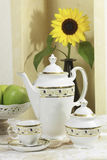 Coffe set 1. Coffe set  with flower, Table complements Stock Photos