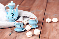 Coffe set with cookies. Cookies with cups of coffee on wooden table.selective focus Royalty Free Stock Image