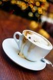 Christmas mood and some coffee. Coffe shop cafe Interior with Christmas mood Stock Photos