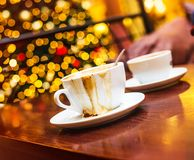 Christmas mood and some coffee. Coffe shop cafe Interior with Christmas mood Royalty Free Stock Photography