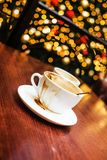 Christmas mood and some coffee. Coffe shop cafe Interior with Christmas mood Royalty Free Stock Photo