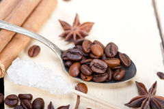 Coffe sugar and spice Royalty Free Stock Photos