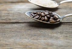 Coffe sur une cuillère Photo libre de droits