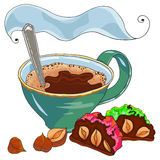 Coffe and sweet cake Royalty Free Stock Photo