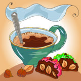 Coffe and sweet cake Stock Photography
