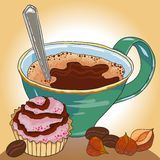 Coffe and sweet cake Stock Photos