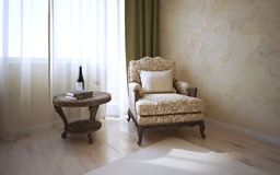 Coffe table and armchair in classic room Royalty Free Stock Photos