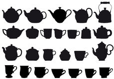 Coffe and tea. Coffee and tea pots with cups,  design elements Stock Image