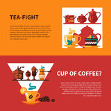 Coffe and Tea 2 Banners Design Royalty Free Stock Image