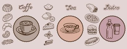 Coffe tea bistro vector hand drawn icons. Vector collection of sketches on the theme of food and drinks Stock Images