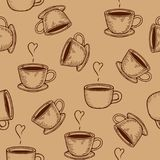 Coffe or tea cups seamless pattern. Vector coffe or tea cups engraving seamless pattern on beige background. Vintage hand drawn bages set. Illustration for menu Royalty Free Stock Photography