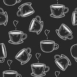 Coffe or tea cups seamless pattern. Vector coffe or tea cups engraving seamless pattern on black background. Vintage hand drawn bages set. Illustration for menu Royalty Free Stock Images