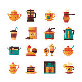 Coffe and Tea Set  Icons Flat Stock Image