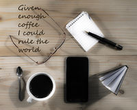 Coffe time - coffee break. Motivation, coffee quotes, pleasant pastime Royalty Free Stock Images