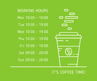 Coffe time working hours color. Coffee time working hours linear vector illustration on green background. Coffee store, house, shop hours of operation creative Stock Photos