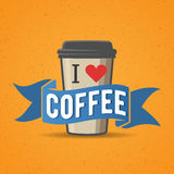 Coffe to go badge, label vector illustration Royalty Free Stock Photography