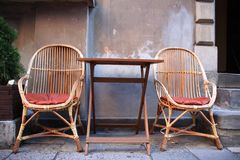 Coffe together. Table and chairs on the street in Warsaw Royalty Free Stock Photography