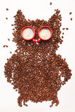 Coffe uggla, Coffeebeans och 2 koppar av espresso Royaltyfria Foton