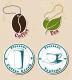 Coffe und Teestempel und -marken eingestellt Lizenzfreie Stockbilder