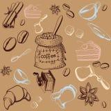 Coffe Vastgestelde Achtergrond vector illustratie