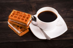Coffe and viennese waffles Stock Image