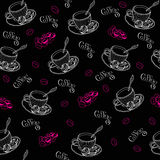 Coffe vormt patroon tot een kom Stock Foto's