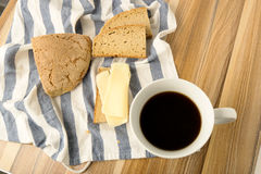 Coffe wheat bread and cheese Stock Images