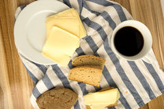 Coffe wheat bread and cheese Royalty Free Stock Images