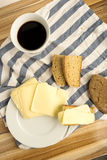 Coffe wheat bread and cheese Royalty Free Stock Photo