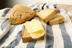 Coffe wheat bread and cheese Stock Photos