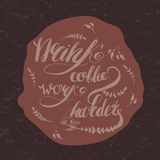 Coffe and work motivation hand-drawn lettering Stock Photo
