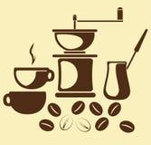 Coffe y accesorios del coffe Imagen de archivo libre de regalías