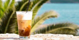 Coffe z lodem i śmietanką Fotografia Stock