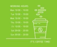 Coffe-Zeit-Arbeitsstundefarbe Stockfotos