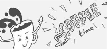 Coffe-Zeit-Illustrationskonzept - Karikatur und Handlettering stockfoto