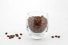 Coffea beans in glass Royalty Free Stock Photos