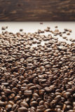 Coffebeans on Neutral Gray Background. Dark Roast Coffee. Dark Roast Coffee on neutral Background Royalty Free Stock Images