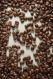 Coffebeans op Neutraal Gray Background De donkere Koffie van het Braadstuk Royalty-vrije Stock Fotografie