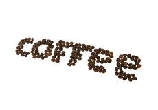 Coffee. The word coffee laid out of coffee beans Stock Images