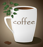 Coffee. Cup of coffee, beans and leaves. (illustration Royalty Free Stock Photography