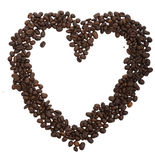 Coffee. Open heart, drawn from the seeds of coffee on a white background Royalty Free Stock Photography