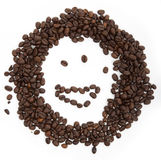 Coffee. Smiley child on a white background royalty free stock photo