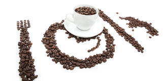 Coffee. On a white background, a little creative royalty free stock photos